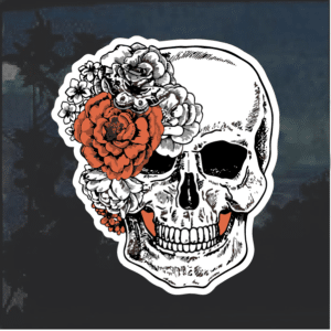 Skull with flowers Window Decal Sticker