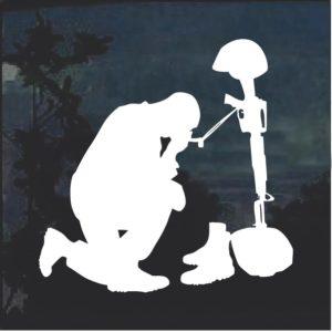 Soldier at Battle Cross Window Decal Sticker