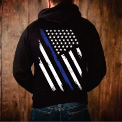 Thin Blue Line Weathered Flag Hoodie