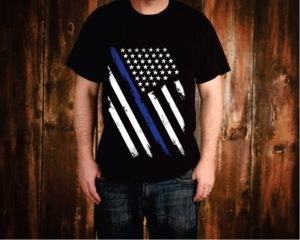 Thin Blue Line Weathered Flag Tee Shirt