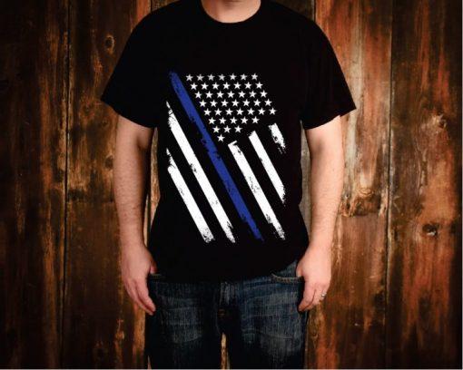 Thin Blue Line Weathered Flag Tee Shirt