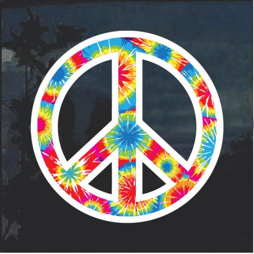 Tie Dye Peace Symbol Window Decal Sticker