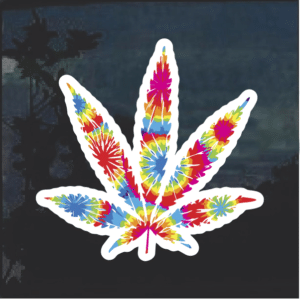 Tie Dye Pot Leaf Window Decal Sticker