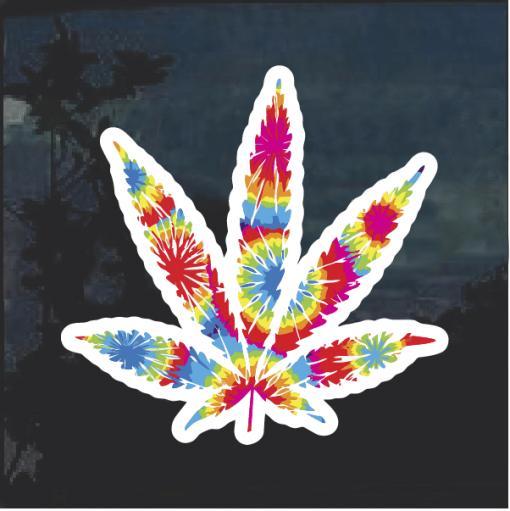 Tie Dye Pot Leaf Window Decal Sticker