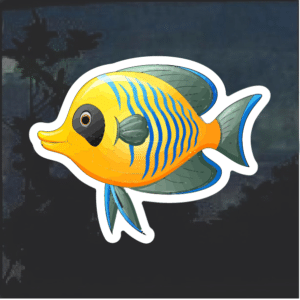Tropical Yellow Fish Window Decal Sticker