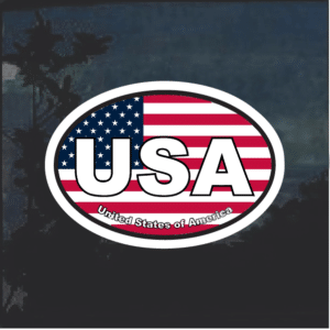 USA Oval Color Window Decal Sticker