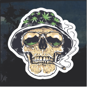 Weed Smoking Skull Window Decal Sticker