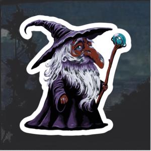 Wizard in Purple Robe Window Decal Sticker