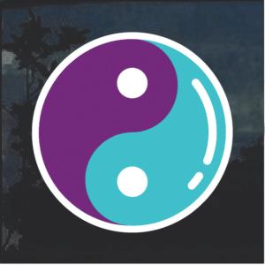 Yin Yang Purple and Blue Window Decal Sticker
