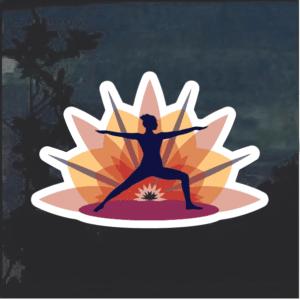 Yoga warrior sunrise Window Decal Sticker