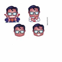 Superman Emoji Head Set of 4 Licensed DC Comics Stickers B