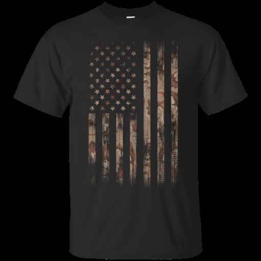 Camo Weathered American Flag Tee Shirt