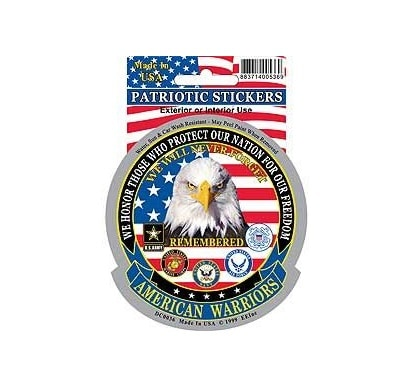 American Warriors Armed Forces Full Color Window Decal Sticker Licensed