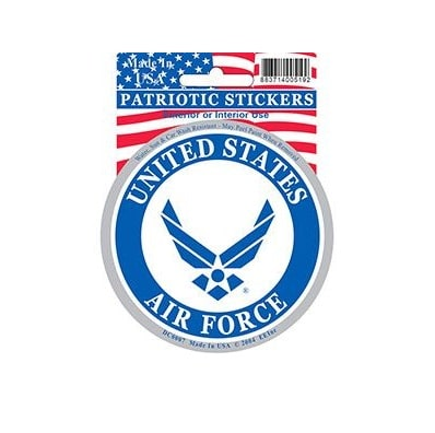 USAF Air Force Round Full Color Window Decal Sticker Licensed