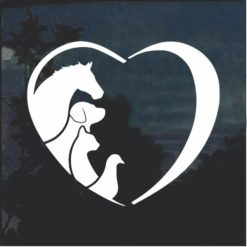 Animal Lover Heart Dog Cats Horse birds Window Decal Sticker