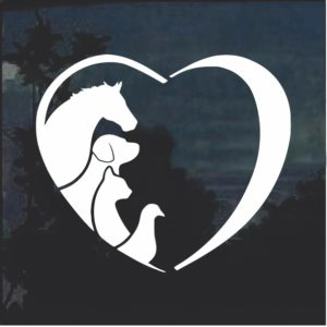 Animal Lover Heart Dog Cats Horse birds Window Decal Sticker