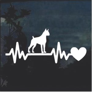 Boxer love Heartbeat Window Decal Sticker