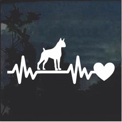 Boxer love Heartbeat Window Decal Sticker