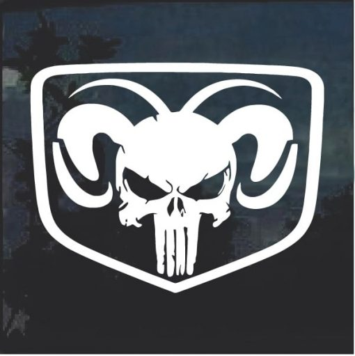 Dodge Ram Head Shield Punisher Skull Decal Sticker