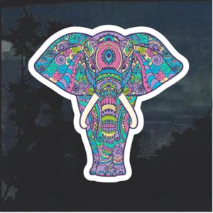 Elephant Boho Color Window Decal Sticker