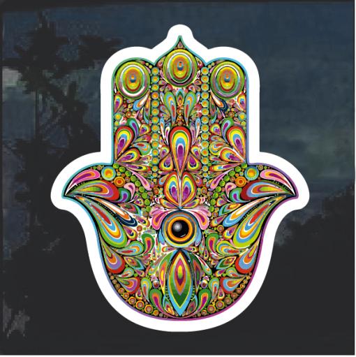Hamsa Hand Peacock Window Decal Sticker