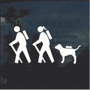 Hiking Couple Window Decal Sticker