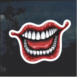 Laughing Joker Lips Window Decal Sticker