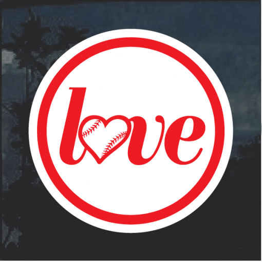 Love Baseball round Window Decal Sticker