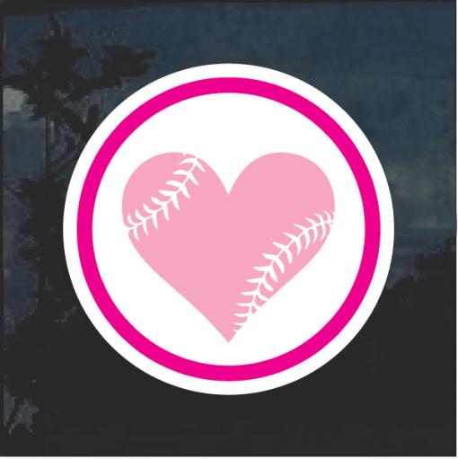 Love Softball Heart Weatherproof Window Decal Sticker