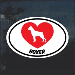 Love my Boxer heart Window Decal Sticker