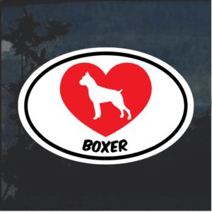 Love my Boxer heart Window Decal Sticker