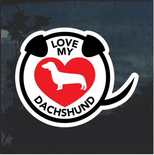 I Love my Dachshund heart Window Decal Sticker