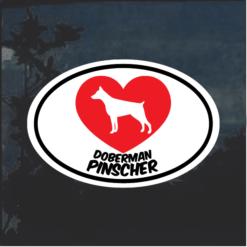 I Love my Doberman Pinscher Window Decal Sticker