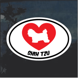 Love my Shih Tzu heart Window Decal Sticker