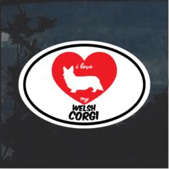 I Love my Welsh Corgi heart Window Decal Sticker