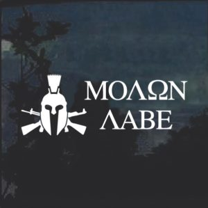 Molon Labe Spartan Crossed Guns Window Decal Sticker