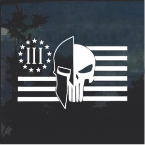 Molon Labe Spartan Punisher 3 percenter Window Decal Sticker