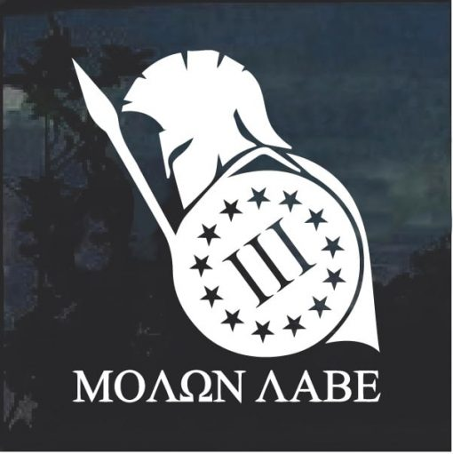 Molon Labe Spartan 3 Percenter Shield Decal Sticker
