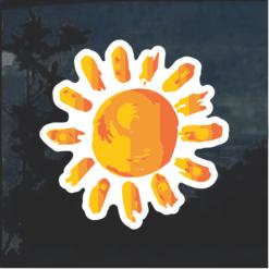 Painted sun Window Decal Sticker