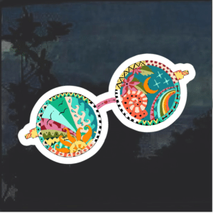 Psychedelic Glasses Hippi Color Window Decal Sticker