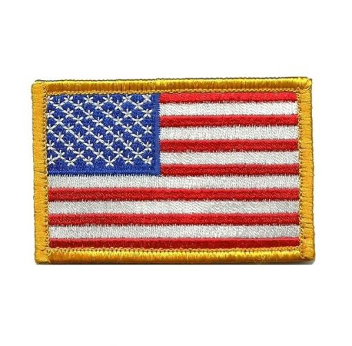 Tactical USA Flag Patch - Red White & Blue Gold Trim