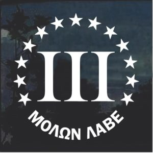 Molon Labe 3 percenter Round window decal sticker