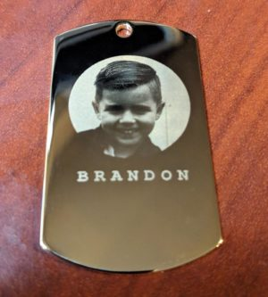 Custom Etched Picture on Dog Tag Pendant.