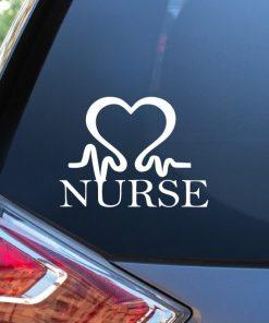 Nurse Nursing Heartbeat EKG Heart Decal Sticker