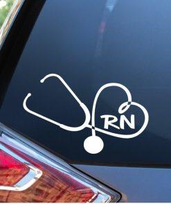 Nurse Stethoscope RN Heart Nursing Window Decal Sticker