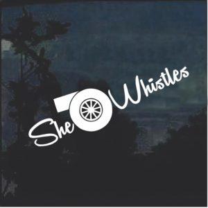 She Whistles Diesel Truck Window Decal Sticker