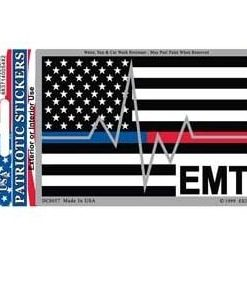 Emt Medical Red Blue Line Heartbeat Full Color Window Decal Sticker Licensed