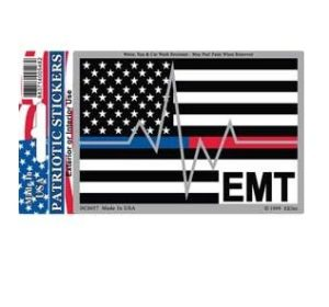 Emt Medical Red Blue Line Heartbeat Full Color Window Decal Sticker Licensed