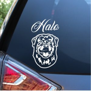 Rottweiler Head Decal With custom Name
