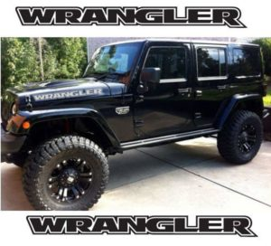 Jeep Wrangler Hood Set Outlined Letters Set of 2